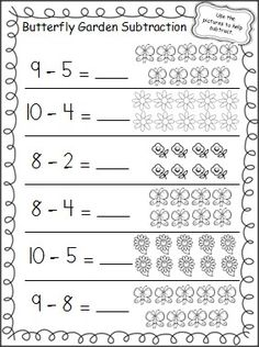 Practice subtraction in the Spring with this free butterfly garden subtraction…