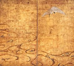 two fold Japanese screen painted in ink and colour on a gold  ground with an egret above a stylised river.  School of Tawaraya Sotatsu. Edo period. 17th century