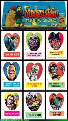 vintage horror valentine cards