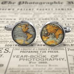 Cuff Links  Accessories  Cufflinks  World Map by MaDGreenCreations