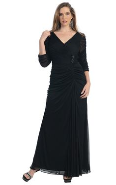 Plus Bridesmaid Dresses, V-neck A-line Dresses, A-line Floor-length Chiffon Plus Size Bridesmaid Dresses