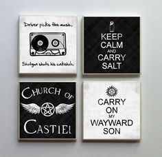 Supernatural SPN Fandom  Ceramic Tile 4pc by LemonPlumDesigns Squeeeee @Sara Eriksson Eriksson Eriksson Eriksson Good