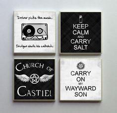 Supernatural SPN Fandom - Ceramic Tile 4-pc. Refrigerator Memo Magnet Set Magnets - Keep Calm Carry Salt and More SET No. 1