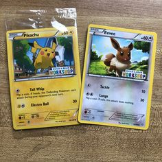 518995de Pikachu and Eevee Pokémon cards from Build A Bear. Pikachu is still in the  wrapping