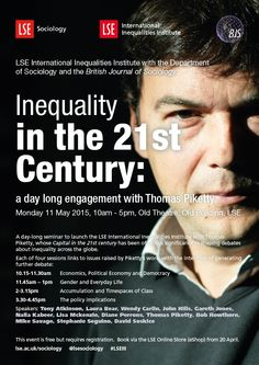 Conference at LSE on 11 May 2015 with Tony Atkinson, Laura Bear, Wendy Carlin, John Hills, Gareth Jones, Naila Kabeer, Lisa Mckenzie, Diane Perrons, Thomas Piketty, Bob Rowthorn, Mike Savage, Stephanie Seguino, David Soskice.  Book from 20 April.