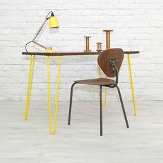 IROKO TEAK HAIRPIN LEGS VINTAGE INDUSTRIAL MID CENTURY DESK TABLE EAMES ERA 60s yellow