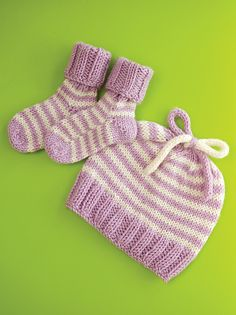 Striped Baby Hat and Booties knit pattern.