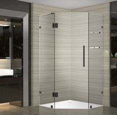 Aston Neoscape GS 42 in. x 42 in. x 72 in. Frameless Neo-Angle Shower Enclosure with Shelves in Oil Rubbed Bronze Corner Shower Enclosures, Frameless Shower Enclosures, Frameless Shower Doors, Glass Shower Doors, Glass Door, Bathtub Doors, Bathtub Shower, Neo Angle Shower, Glass Shelves