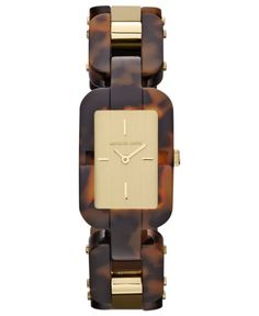 Michael Kors Watch, Women's Brit Tortoise Acetate and Gold Tone Stainless Steel Bracelet 36x24mm MK4264 - Women's Watches - Jewelry & Watches - Macy's