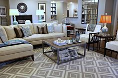 I love all the pieces. sectional is very close to what I want for our LR: charis are interesting and cool, rug is graphic and great! I just want it in a different color scheme.