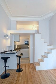 Get inspired with our SPACE SAVING STAIRCASE IDEAS & Designs. Our curated images will get those creative juices flowing...The best images and ideas... #spacesavingstaircaseideas #spacesavingstaircaseideasstairways #smallstaircaseideasspacesaving #atticstaircaseideasspacesaving #loftstaircaseideasspacesaving #spacesavingstaircasedesign #staircasedesignspacesaving #spiralstaircaseloftspacesavinginteriordesign House Design, Tiny House Design, Tiny Loft, Small Staircase, Tiny House Plans, Tiny House Interior, Small Room Design, Space Saving Staircase, Small Apartments