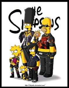 the gothic simpson! homer is a gothic / rocker marge is a dark gothic Bart is an emo ^ ^ Lisa is a punk and Maggie is a mix of all! the simpson are the . The Simpson gothic The Simpsons, Cartoon Art, Cartoon Characters, Morbider Humor, Los Simsons, Geeks, Rock Poster, Animation, Futurama