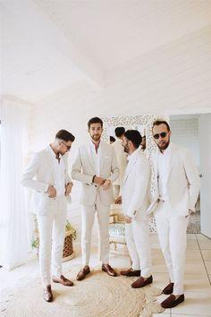Groomsmen Attire Beach Wedding, Wedding Tux, Groom And Groomsmen Attire, Bridesmaids And Groomsmen, Dream Wedding, Casual Groom Attire, Beach Wedding Men, Chic Wedding, Destination Wedding
