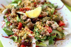 Pillanatok alatt elkészíthető egészséges saláta Kung Pao Chicken, Broccoli, Potato Salad, Paleo, Potatoes, Beef, Vegetables, Cooking, Ethnic Recipes