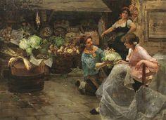 Alessandro Milesi (1856-1945) - Al Mercato