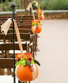 Decorating with Mini Pumpkins - aisle decorations #wedding #decor #fall #pumpkin