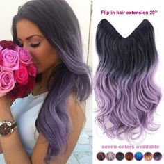20 inch one piece brazilian natural wave light purple lavender black ombre hair lady synthetic invisible flip in hair extensions - Stylish n Trendier