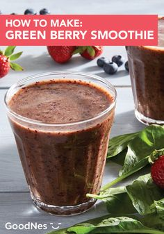 Wake up this summer to the delicious taste of a Berry Green Smoothie. Filled with flavor, this recipe includes bananas, strawberries, kale and more! Click here to see a full list of ingredients. Summer Drink Recipes, Refreshing Summer Drinks, Bananas, Kale, Strawberries, Smoothie, Beverages, Tableware, Green