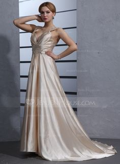 Wedding Dresses - $148.99 - A-Line/Princess V-neck Court Train Charmeuse Wedding Dress With Ruffle Lace Beading Sequins (002012014) http://jenjenhouse.com/A-Line-Princess-V-Neck-Court-Train-Charmeuse-Wedding-Dress-With-Ruffle-Lace-Beading-Sequins-002012014-g12014?ver=1