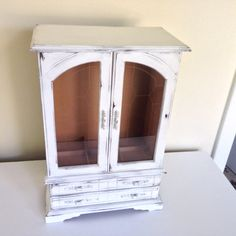 large Shabby chic jewelry armoire vintage  white by MySugarBlossom, $53.00