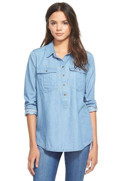 Paper Crane Chambray Shirt (Juniors) available at #Nordstrom