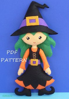 PDF sewing pattern to make a felt Witch 9 inches tall. It is not a finished doll. Includes tutorial with pictures and step by step explanation. For