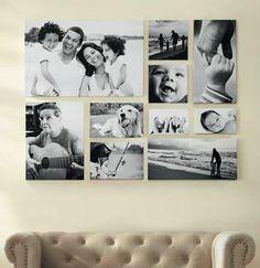 Wohnzimmer-Wandgestaltung mit schwarz-weißen Bildern