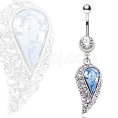 316L Surgical Steel Blue Water Drop Navel Ring