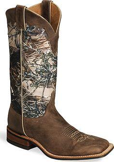 Justin Bent Rail Camo Cowboy Boots - Square Toe