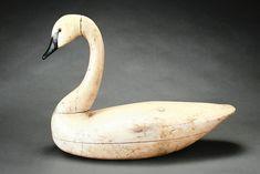 Charles Birch (1867-1956) - Swan Decoy. Carved & Painted Wood. Willis Wharf, Virginia. Circa 1930's.