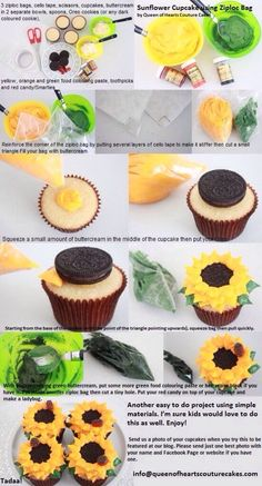 Sunflower Cupcakes - fun spring project for the kids (using organic oreo-esque cookies instead) Sunflower Cupcakes, Sunflower Party, Sunflower Wedding Themes, Sunflower Cake Ideas, Rustic Sunflower Weddings, Sunflower Birthday Cakes, Sunflower Decorations, Sunflower Baby Showers, Sunflower Oil