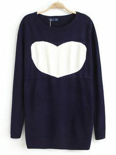 Navy Long Sleeve Heart Pattern Knit Sweater US$32.13