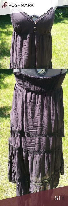 """Black H& M Sun Dress Sheer Black. Adhjustable straps. Elastic on back of bodice. Crocheted and lace accents.  33"""" from arm pit to hem. H&M Dresses Midi"""