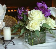 White and Purple Calla Lilies, Roses and Delphinium for a wedding at the Keystone Ranch in Keystone, Colorado | Petal and Bean | Florist and Event Design in Breckenridge, Colorado.