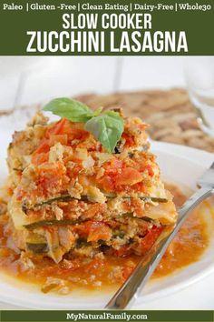 "Paleo crock pot lasagna recipe with four layers: a homemade marinara, zucchini noodles, a creamy ""cheese"" layer, and a ground turkey layer with fresh basil Paleo Crockpot Recipes, Slow Cooker Recipes, Cooking Recipes, Healthy Recipes, Healthy Meals, Paleo Food, Paleo Pasta, Paleo Bread, Crockpot Ideas"