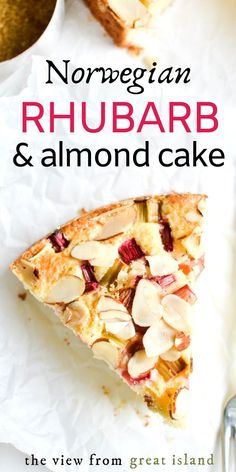 This Norwegian Rhubarb and Almond Cake is a delicate breakfast cake that features the unusual combination of tart rhubarb with almond. This is an ideal spring brunch cake. #dessert #coffeecake #Norwegian #rhubarbcake Just Desserts, Dessert Recipes, Fruit Dessert, Health Desserts, Rhubarb Cake, Rhubarb Muffins, Almond Cakes, Almond Cake Recipes, Almond Tart Recipe