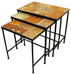 "Slate Nesting Tables set of 3 (Metal/Slate) (20 7/8"" W x 13 7/8"" L x 20""H (largest))"