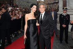 Amal Alamuddin and George Clooney make their red carpet debut (Getty Images)