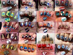 Nail art Sports Nail Art, Football Nail Art, Sassy Nails, Love Nails, Pretty Nails, Spirit Nails, Seasonal Nails, Nail Time, Cool Nail Art