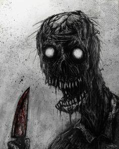 Rotting Zombie by Eemeling on DeviantArt Creepy Drawings, Dark Art Drawings, Creepy Pictures, Dark Pictures, Arte Horror, Horror Art, Heavy Metal Art, Dark Artwork, Macabre Art