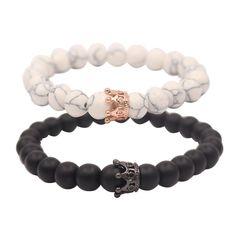 UEUC Distance Couple Bracelets with CZ Crown King&Queen Black&White Howlite 8mm Beads Bracelet