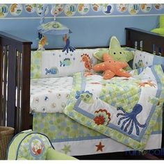 Brocks baby bedding so fun! Bubbles Nursery Lambs and Ivy.  Trying to find hanging art to go with it.