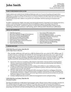 early childhood education resume