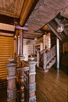 Large Siberian House In Eclectic Style. Love all the detail in the wood.