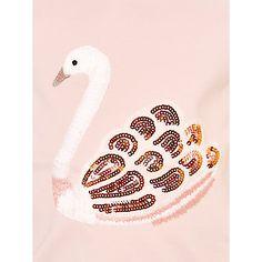 Buy John Lewis Girl Long Sleeve Swan T-Shirt, Pink Online at johnlewis.com