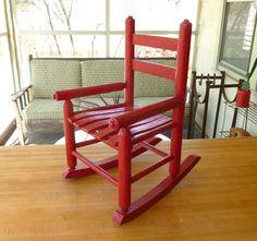 Antique Red Oak Wood Children's Rocking Chair Old Vintage Rocker #kimberlingray