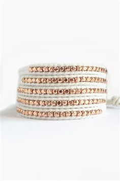 Bronze Cluster Wrap Bracelet on White Leather, Talulah Lee