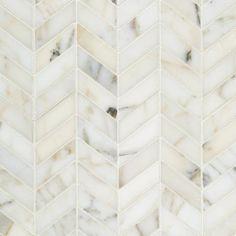 Artistic Tile Calacatta Gold and Bianca Carara marbles in chevron pattern. Calacatta Gold Marble, Marble Mosaic, Mosaic Tiles, Marble Tile Shower, Calacatta Tile, Marble Bathrooms, Mosaic Wall, Wall Tiles, Tiffany Blue