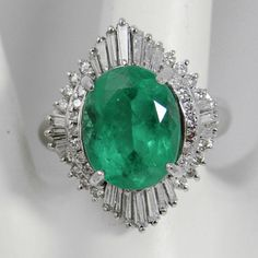 Estate Platinum 5.81cts Natural Fine Colombian Emerald & Diamond Cocktail Ring