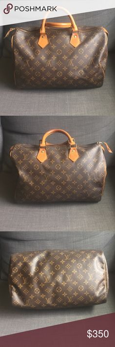 Speedy 35 Authentic Louis Vuitton speedy 35. In good used condition. The only thing not original to the bag are the 4 rivets that where professionally replaced years ago. Rest of the bag is beautiful and clean inside Bags